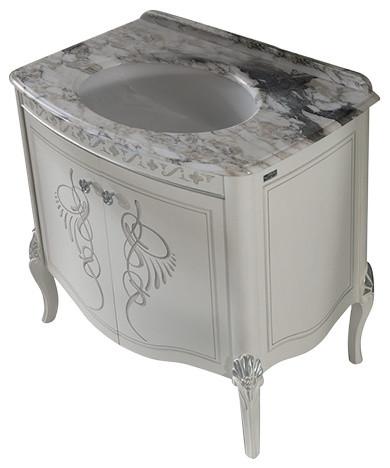"""Heritage 34"""" Silver Bathroom Vanity Set."""