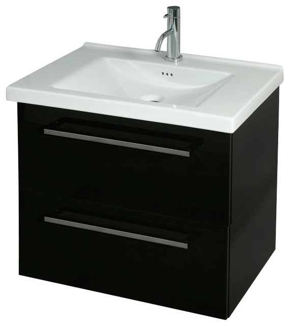 Drawer Vanity Cabinet With Ceramic Sink Glossy White
