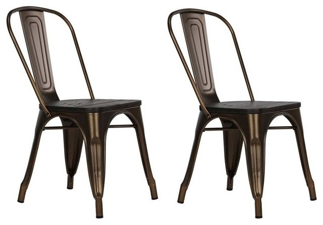 fusion metal dining chairs with wooden seats set of 2 bronze industrial dining