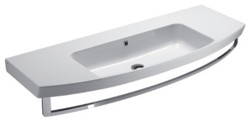 Ceramic Wall Mounted Or Vessel Bathroom Sink, No Faucet Holes.