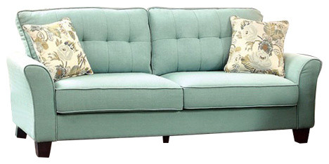 Claire Transitional Style Padded Flax Fabric Sofa, Blue.