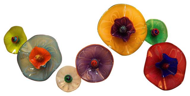 Abstract Glass Wall Flower Sculptures, 7-Piece Set.