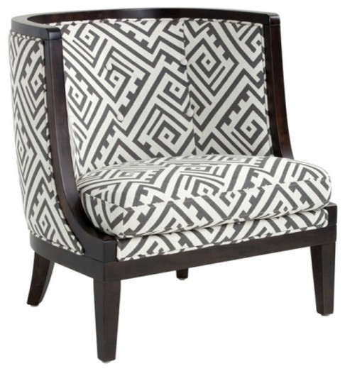 Marvelous Lyon Curved Accent Chair, Geo Gray Transitional Armchairs And Accent Chairs
