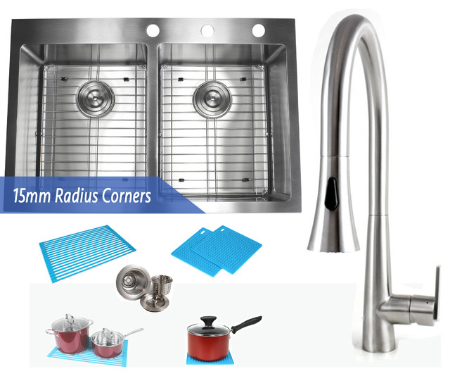 "33"" Topmount Stainless Steel 50/50 Double Bowl Kitchen Sink and Faucet Combo"