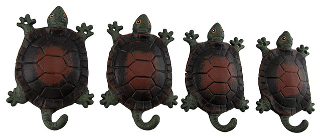 Brown Shell Green Turtle Wall Hooks, Set Of 4.