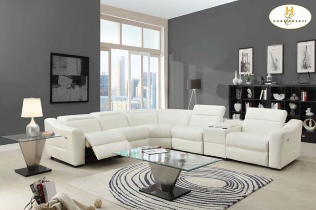 reclining sectional with nailheads modern white leather sofa chaise console speaker contemporary sofas small