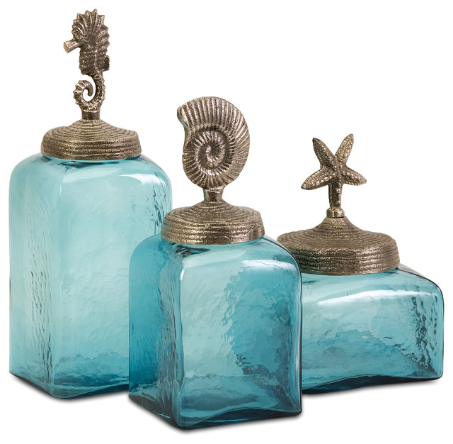 Sea Life Canisters Set Of 3 Beach Style Kitchen Canisters And Sea Life Canisters  Set Of