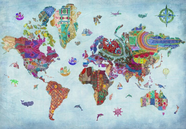 World Map Quilt Poster Print By Aimee Stewart, 18x9