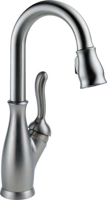 Delta 9678 Leland Pull-Down Bar/prep Faucet With Spray Head, Arctic Stainless.