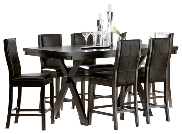 homelegance rigby 8 piece counter height dining room set with x base