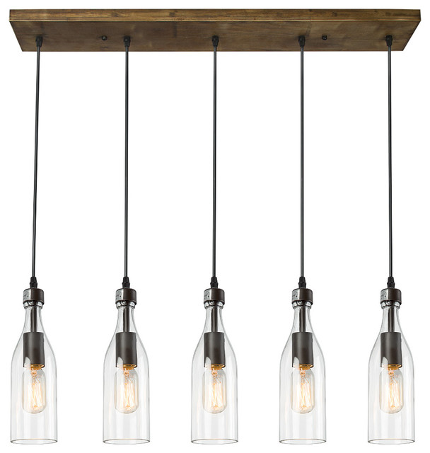 5-Light Glass Mason Jar Hanging Ceiling Pendant Kitchen Island Lighting.