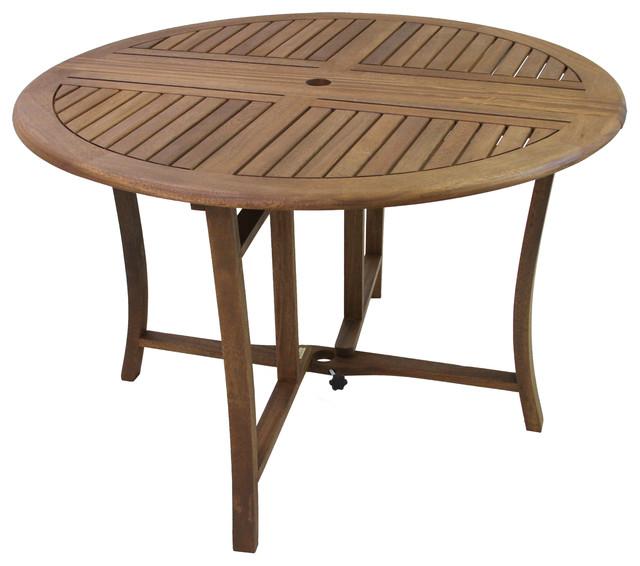 Round Eucalyptus Folding Dining Table, Outdoor Foldable Round Dining Table