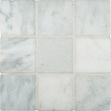 4x4 Arabescato Carrara Tumbled Marble Floor and Wall Tile