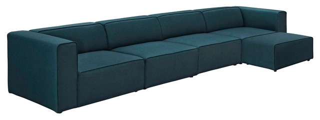 Modway Mingle 5 Piece Upholstered Fabric Sectional Sofa Set, Blue.