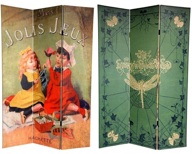 Tall Double Sided Children's Stories Canvas Room Divider  eclectic-screens-and - 6 Ft. Tall Double Sided Children's Stories Canvas Room Divider