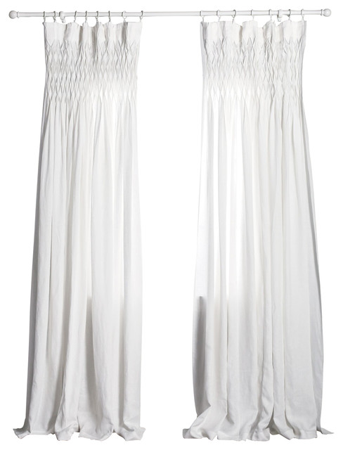 Curtain Panel White Smocked Curtains By Pom Pom At Home