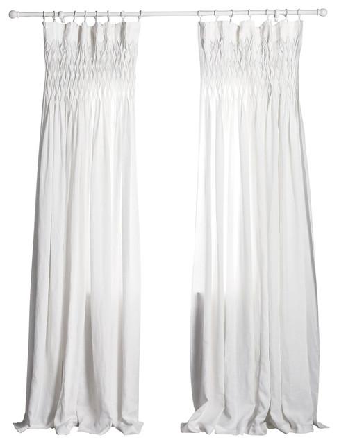 Curtain Panel, White, Smocked.