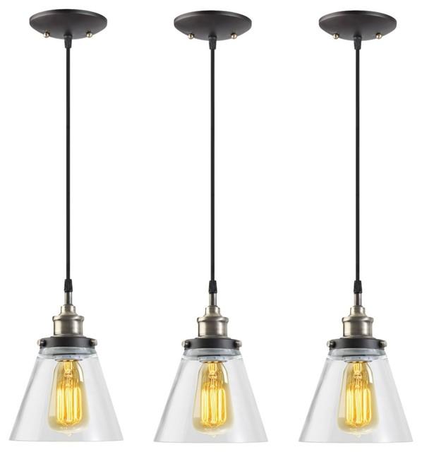 Jackson 1-Light Vintage Edison 3 Piece Hanging Pendant Set