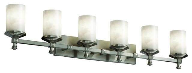 Justice Design Deco 6-Light LED Bath Bar, Brushed Nickel
