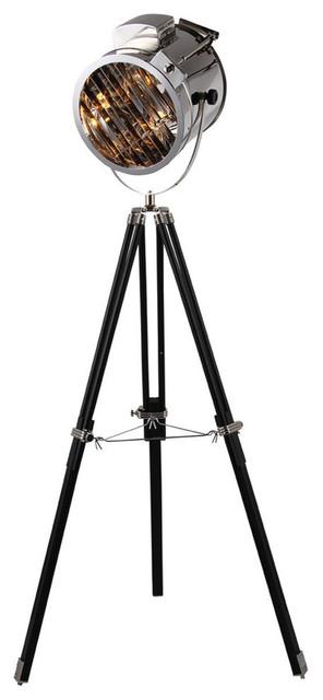 Elegant Lighting Ansel Tripod 1 Light Chrome And Black Floor Lamp.