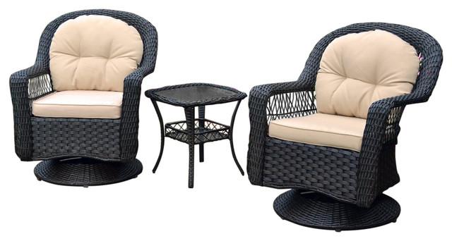 Swell Tortuga Outdoors 3Pc Biloxi Wicker Swivel Gliding Chairs Beatyapartments Chair Design Images Beatyapartmentscom
