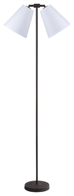 Zoe Two-Light Floor Lamp In Antique Iron Finish With Burnish Chintz Shade.