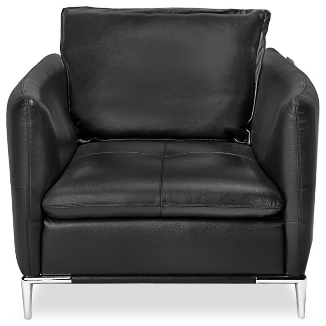 Charcoal Gray Leather Bristol Lounge Chair  Contemporary Armchairs And Accent Chairs