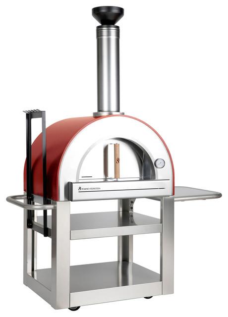 Forno Venetzia Fully Assembled Pizza Oven, Red.
