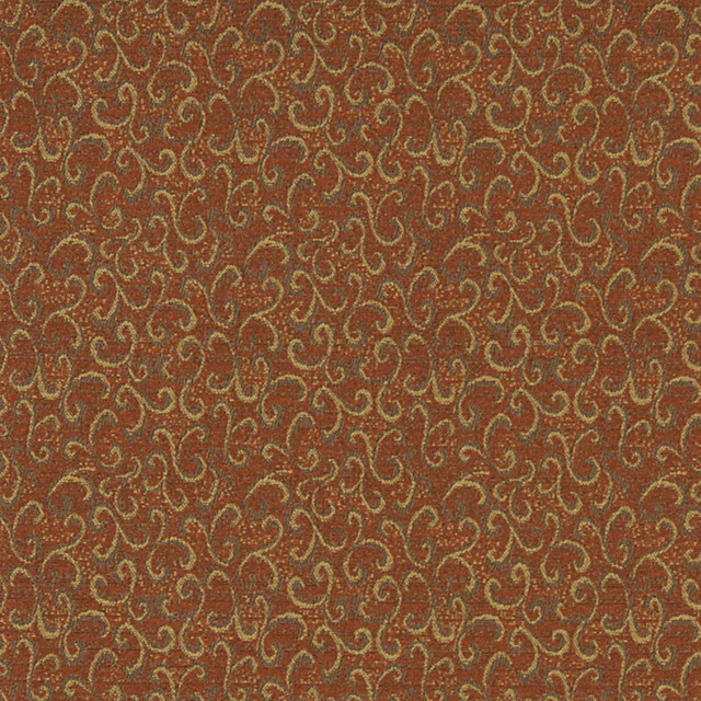 Rust Red And Gold Abstract Scrolls Contract Grade Upholstery Fabric