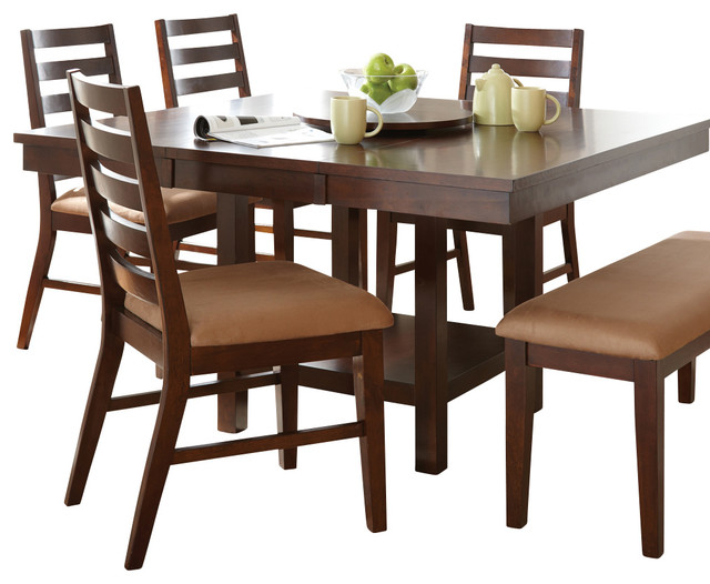 Steve Silver Eden Dining Table With 18 Inch Lazy Susan In Dark Cherry  Transitional Folding
