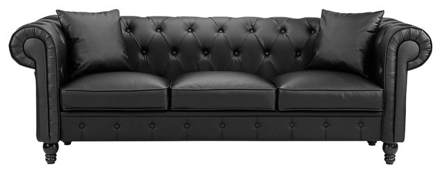 Classic Bonded Faux Leather Chesterfield Sofa, Scroll Arm, 2 Pillows, Black
