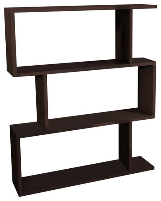 Bensley 32&x27;&x27;x38&x27;&x27;x9&x27;&x27; Modern Minimalist Bookcase, Wenge.