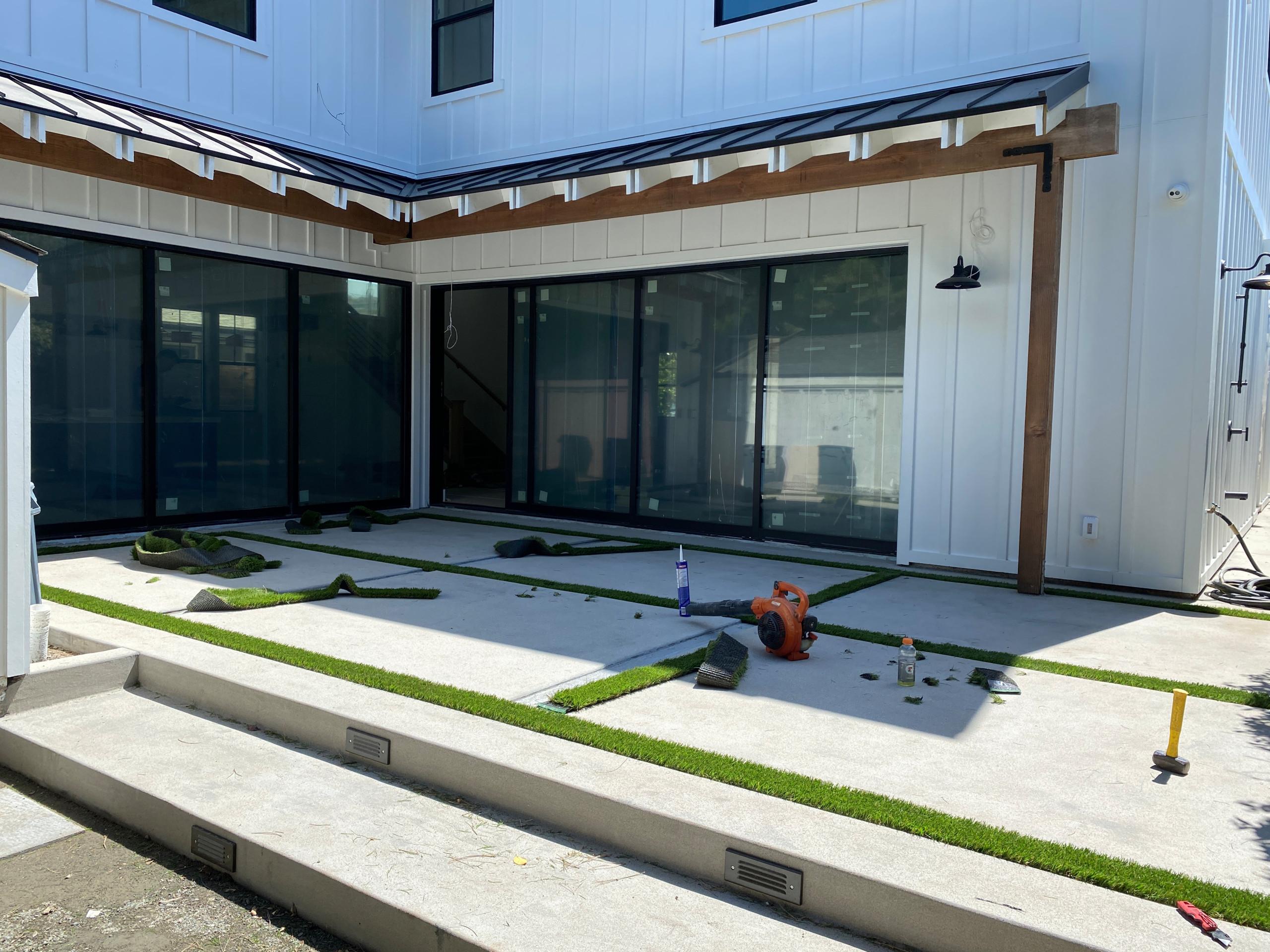 Installing Artificial Turf in Concrete Squares in La Jolla Shores