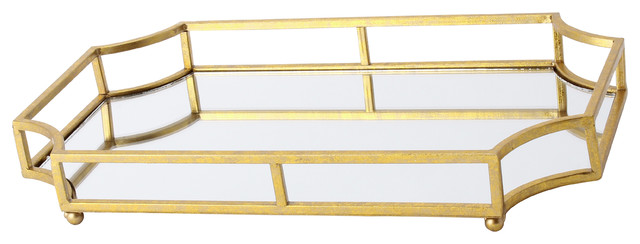 Kate And Laurel Metal Mirrored Decorative Tray Ciel Gold Transitional Bathroom Organizers