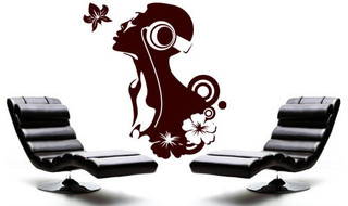 """koi with flowers Vinyl Wall Sticker Decal 22/""""x29/"""" Colors"""