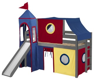Jackpot Castle Low Loft Bed, Gray With Slide, Red and Blue Tent and Tower