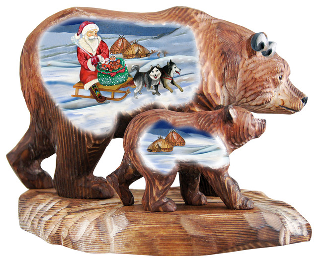 Christmas Arrival Bears Family, Woodcarved Figurine.