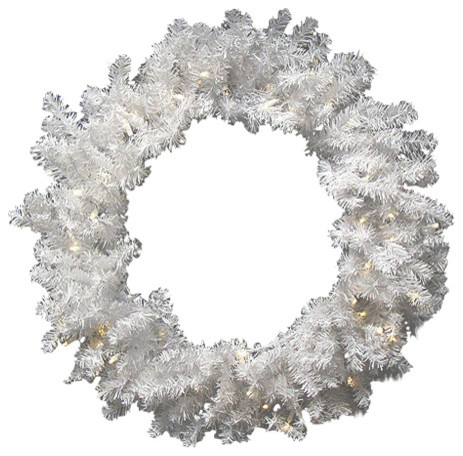 30 battery operated pre lit led snow white christmas wreath clear lights - Battery Operated Christmas Wreaths