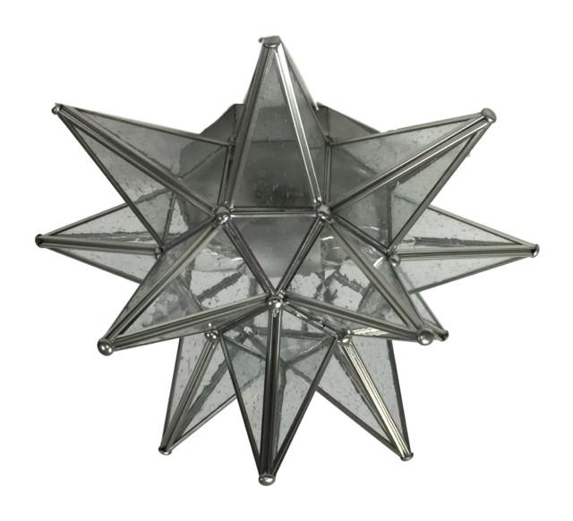 Moravian Star Ceiling Light, Flush Mount, Seedy Glass, Silver Trim.
