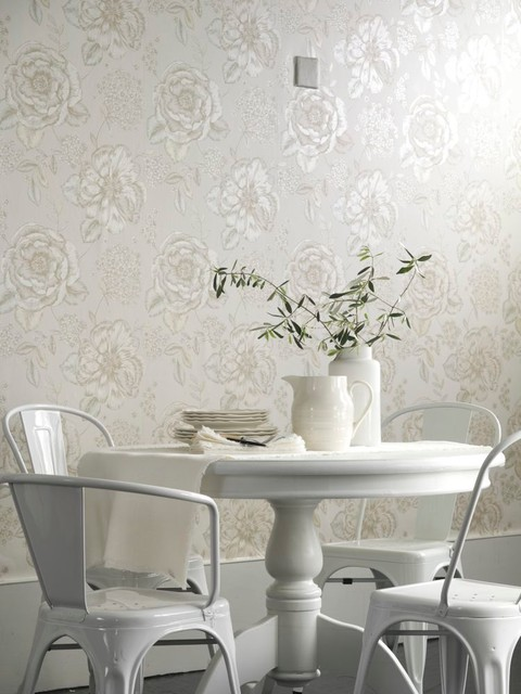 dining room wallpaper ideas - shabby-chic style - dining room