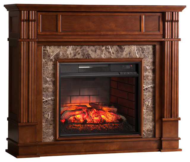 Aragon Faux Stone Infrared Electric Media Fireplace.