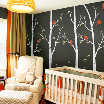 Thin Birch Tree Wall Decals, Color Scheme A, Large 108""