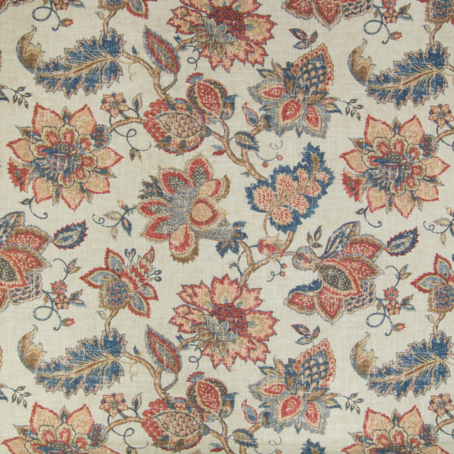 Vintage Red Blue Floral Print Linen Upholstery Fabric