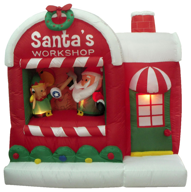 After Christmas Furniture Sales: Inflatable Christmas Santa Claus With Elf Workshop Lighted