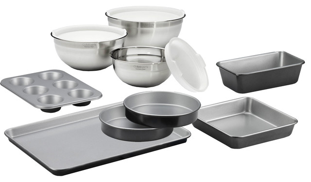 Chefs Classic Non-Stick Bakeware And Stainless Steel Mixing Bowls, 9-Piece Set.