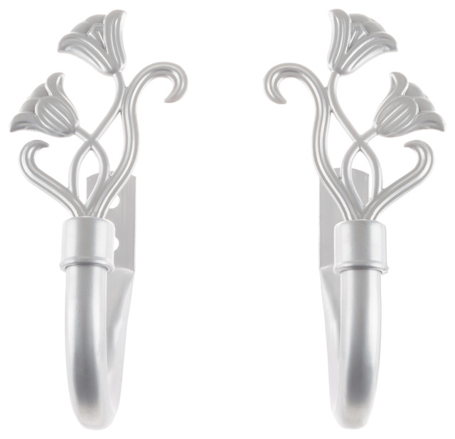 Curtain Holdback Set With Floral Finial, Silver By Lavish Home.