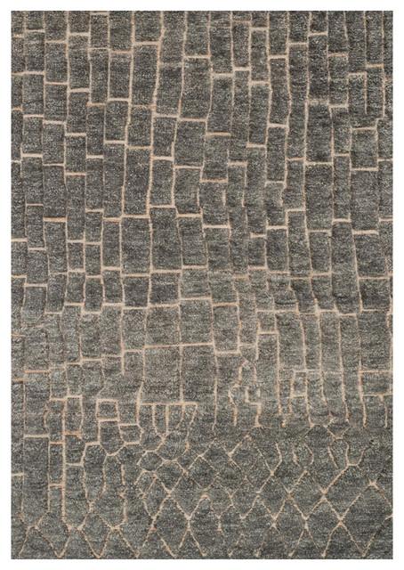 Renna Industrial Slate Gray Path Wool Jute Rug 4x6