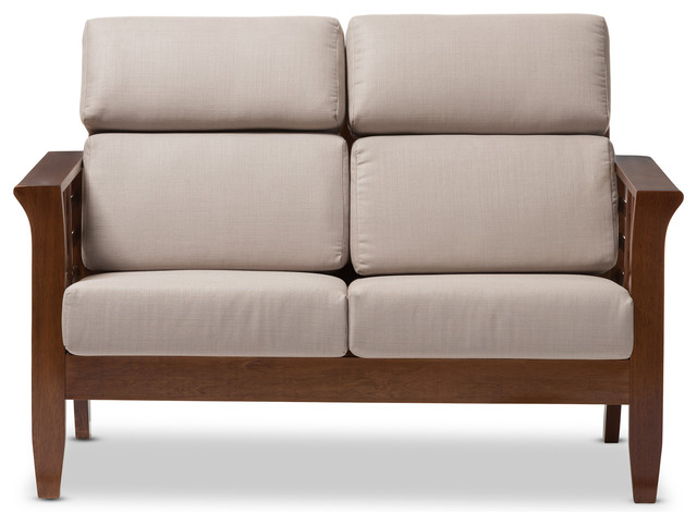 Larissa Mission Style High Back Cushioned 2 Seater Loveseat Settee Contemporary Loveseats