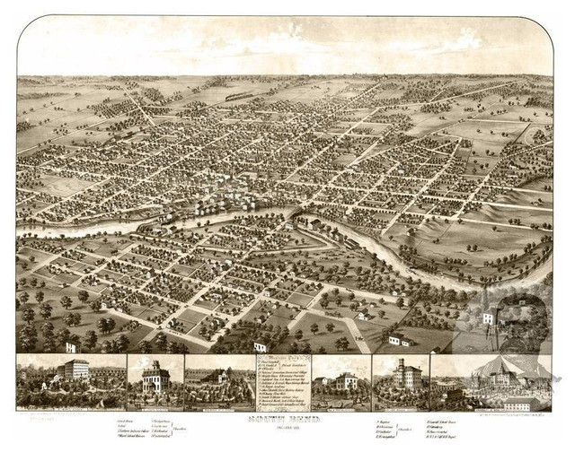 24x36 Vintage Reproduction Historic Map Richmond Indiana Wayne County 1884