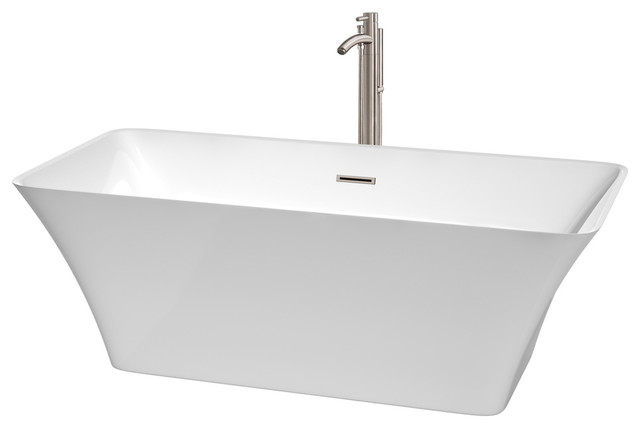 "Freestanding Bathtub, Drain, Overflow Trim, Brushed Nickel Faucet, White, 67""."